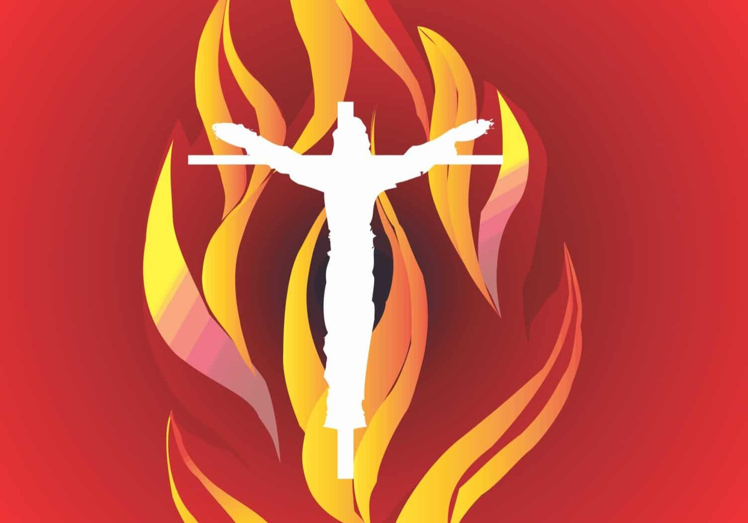 St Anthonys Logo Flame [Red Background]